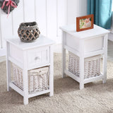 Pair of Shabby Chic Wooden Bedside Tables with Wicker Baskets