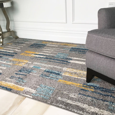 Grey Contemporary Striped Rug