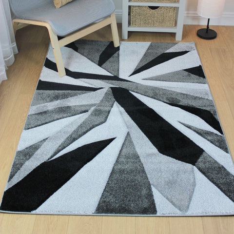 Black & Grey Cracked Waves Rug