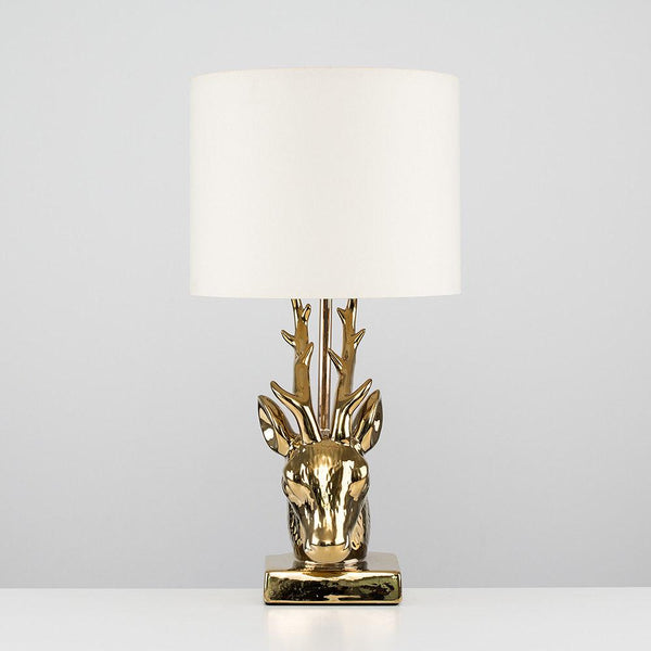 Designer Gold Stag Head & Coloured Lampshade