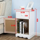 Pair of White Bedside Tables with Drawers & Groove Doors