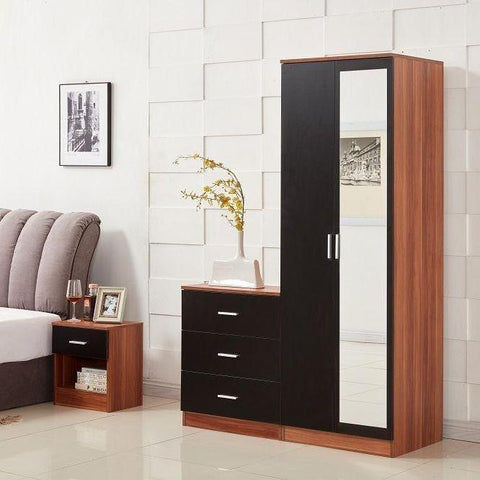 3 Piece Bedroom Set - Wardrobe, Chest of Drawers & Bedside Table
