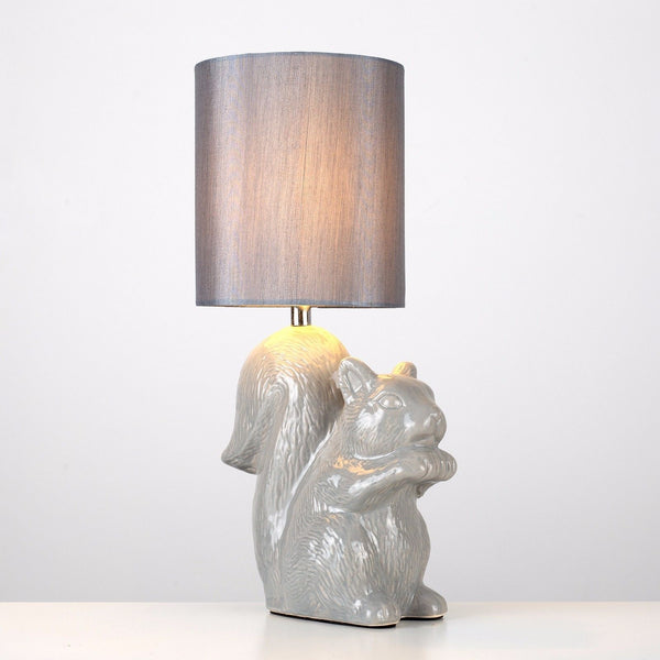 Large Beige Squirrel Bedside Table Lamp