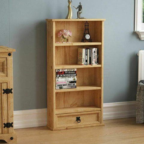 Solid Pine Wood Bookcase & Drawer