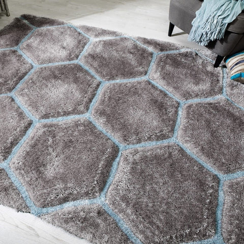 Duck Egg Blue Honeycomb Rug