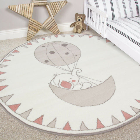 Cream Floating Elephant Circular Rug