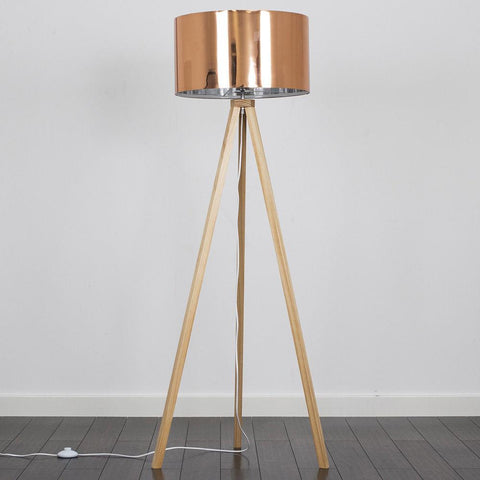 Natural Wood Copper Floor Lamp