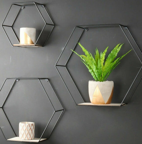 Set of 3 Hexagon Shelves