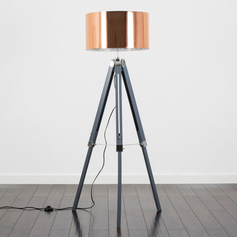 Grey Wood Tripod Lamp