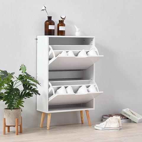 Scandi White Shoe Storage Cabinet