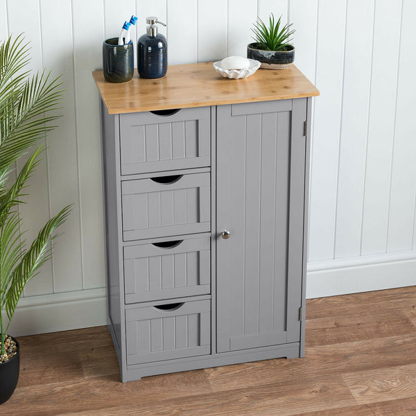 Grey Four Drawer Standing Cabinet