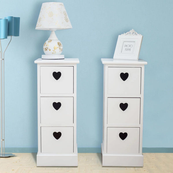 Pair Of Bedside Table Units with 3 Heart Decorated Drawers