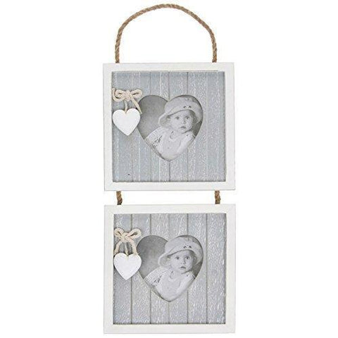 Grey Shabby Chic Double Hanging Heart Photo Frame