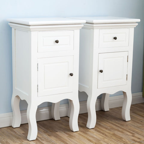 Pair of Wooden Bedside Tables with 2 Drawers