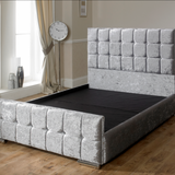 Silver Velvet Fabric Double or King Sized Bed Frame