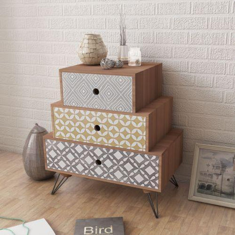 Contemporary 3 Level Bedside Table