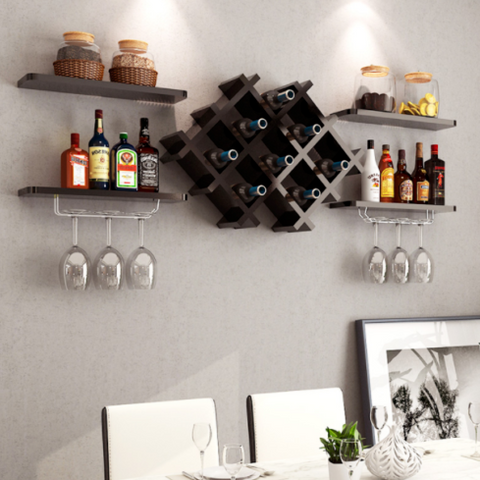 5pcs Black or Oak Wall Drinks Display & Wine Rack Set