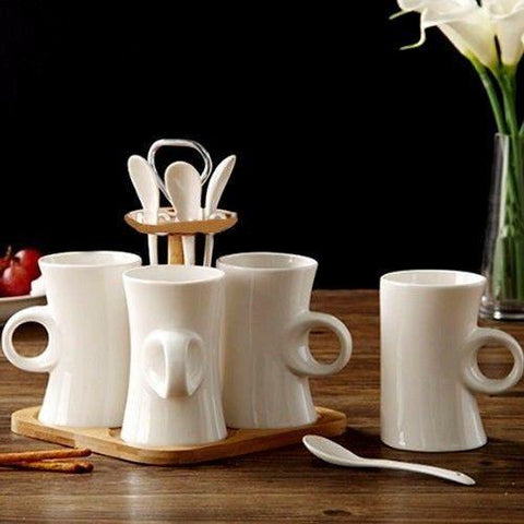 Coffee Mug Set with Spoons & Bamboo Stand