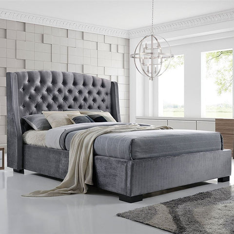 King Size Velvet Chesterfield Bed Frame