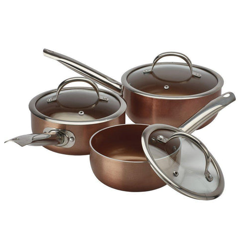 Set of 3 Non Stick Copper Saucepans