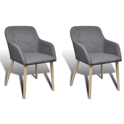 Set of 2 Dark Grey Fabric Dining Chairs