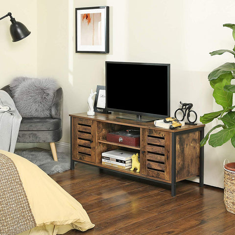 Rustic Industrial TV Unit with Side Cabinets