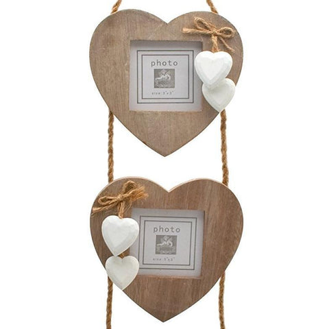 Chic & Shabby Triple Wooden Hanging Heart Photo Frame