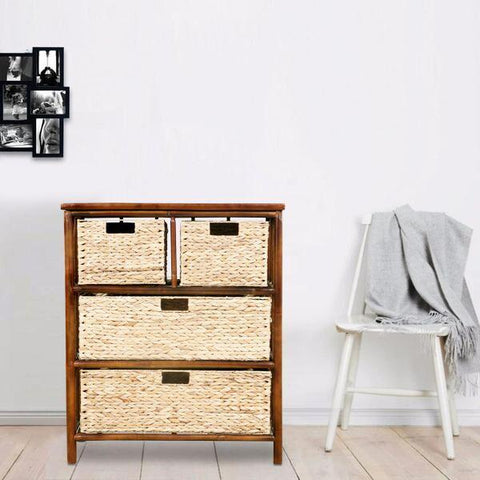 Brown Wicker Basket Cabinet