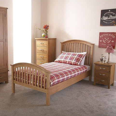 Oak Veneer Curved Bed Frame - Single