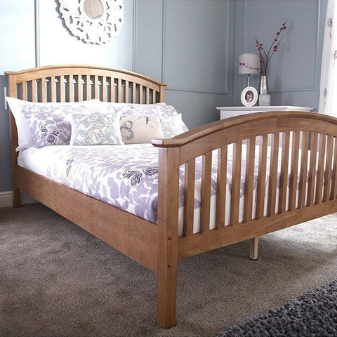Oak Veneer Curved Bed Frame - Double/King