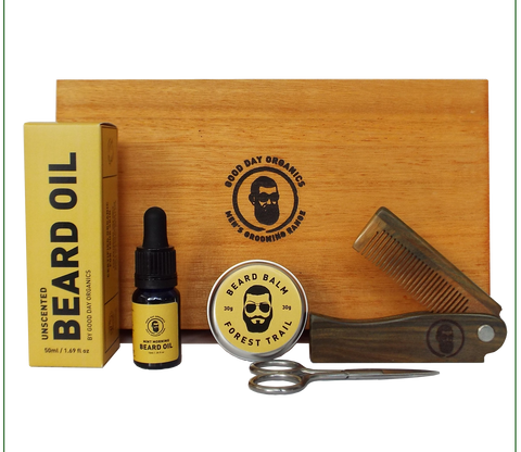 Organic Beard Grooming Timber Gift Set (Personalised)