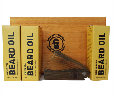 Organic Beard Oil & Beard Comb Gift Set (Personalised)