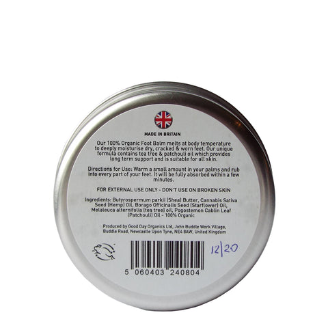 Organic Foot Balm - with Hemp & Patchouli - Good Day Organics Ltd