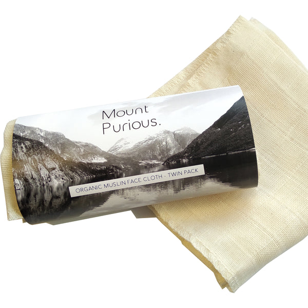Organic Cotton Muslin Face Cloths (Twin Pack)