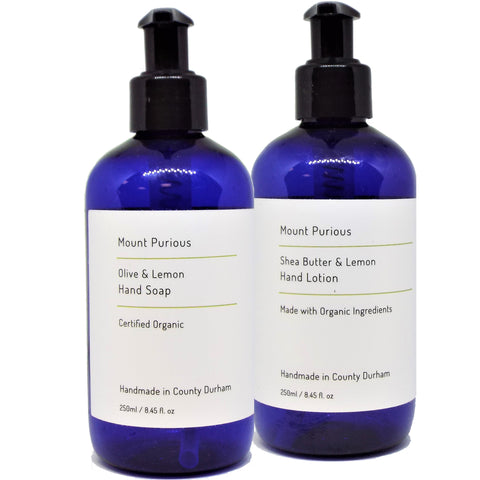 Organic Lemon Liquid Hand Soap & Hand Lotion Set