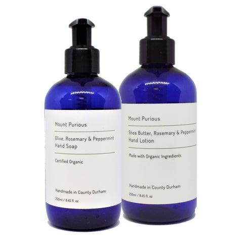 Organic Rosemary & Peppermint Liquid Hand Soap & Lotion Set