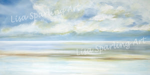 Calming Waters Lisa Sparling Giclee Reproduction Abstract Painting, Coastal Art
