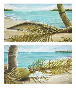 """Coconut Coast I & II"" Pair of Giclée Reproductions"