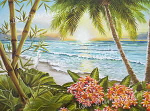 """Paradise on the Beach"" Pink Flowers Giclée Reproduction"