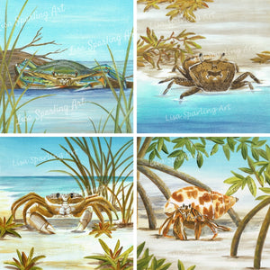 Feeling Crabby Lisa Sparling Art Giclee Reproduction Painting, crab art, coastal, ocean life, beach