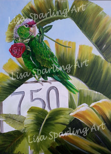 """Parrot at 750"" Acrylic Lisa Sparling Original Commission Piece"