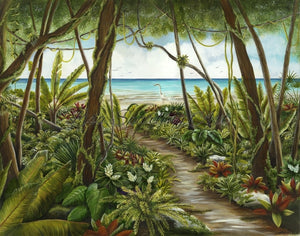 Path To Paradise Acrylic Lisa Sparling Giclee reproduction, tropical, art, ocean, coastline, coastal
