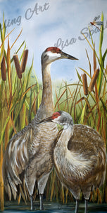 """Sandhill Cranes"" Acrylic Lisa Sparling Original Painting"