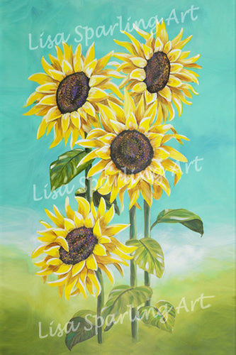 Sunflowers Lisa Sparling art giclee reproduction painting, sunflower, art, plants, gardening, home decor, wall art