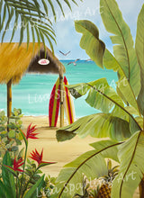 Surf shack lisa sparling art giclee reproduction painting, artwork, tiki hut, paradise, tropical, surf boards, foliage, birds of paradise, beach, coastal, home decor, wall art