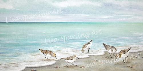 Surfside Dining Lisa Sparling Art Giclee Reproduction Painting, sand pipers, coastal, landscape, ocean, beach, sand, birds, home decor, wall art, nautical
