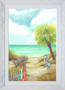 """Tranquil Beach Trio"" Set of Three Acrylic Lisa Sparling Originals"