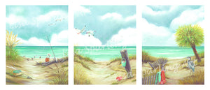 """Tranquil Beach"" Grouping Set of Giclée Reproductions"