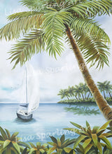 Tropical Cove Lisa Sparling Art Giclee Reproduction Painting, Artwork, tropical, coastal, palm tree, ocean, beach, sailboat, wall art, home decor