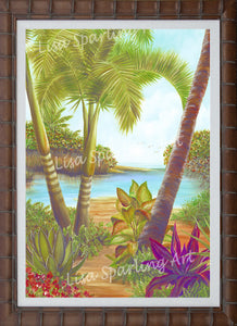 """Tropical Lagoon I & II"" Set of Acrylic Lisa Sparling Originals"
